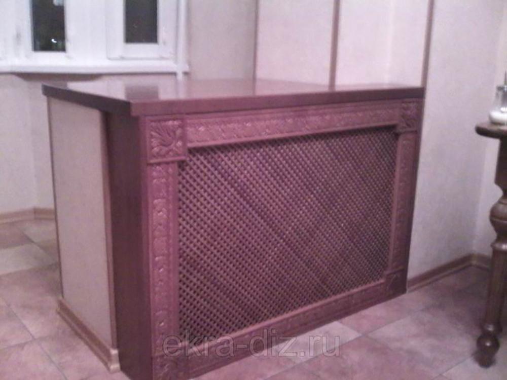 Деревянный экран для батареи отопления серия «Массив» 12